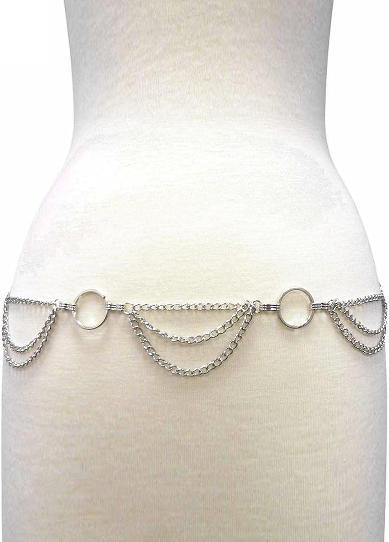 Draped Triple Layer Body Chain Link Silver Belt