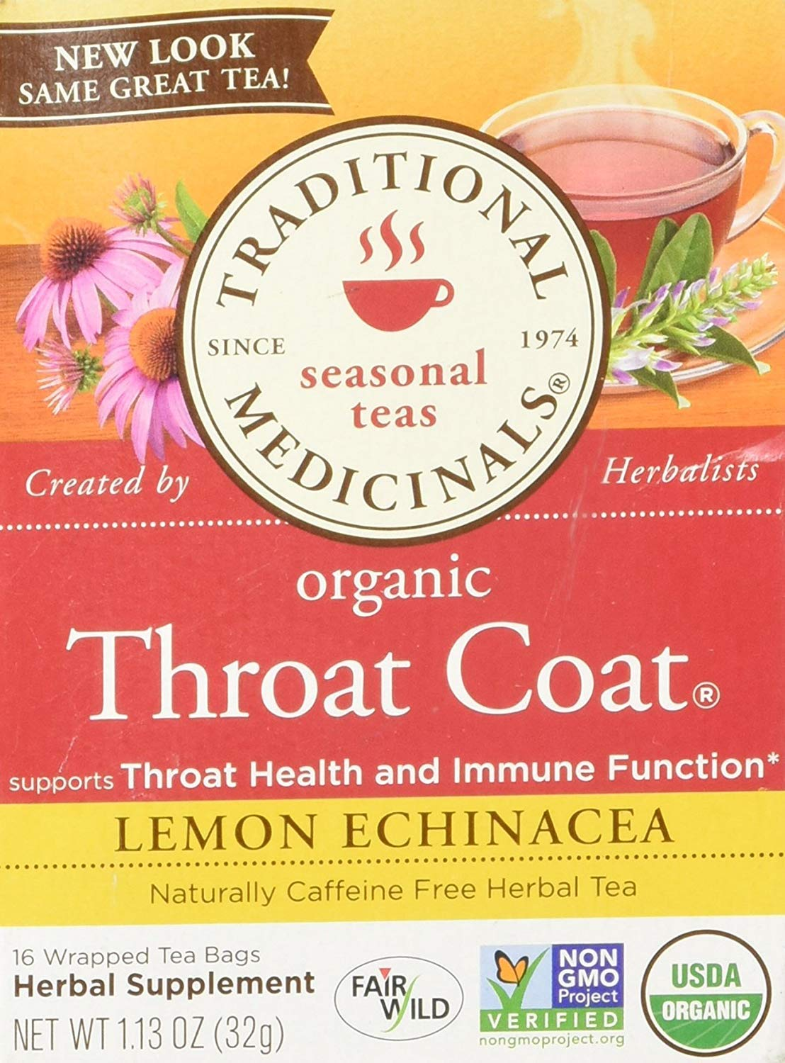 Traditional Medicinals Throat Coat Lemon Echinacea Seasonal Tea Organic, 16 CT Pack – 6