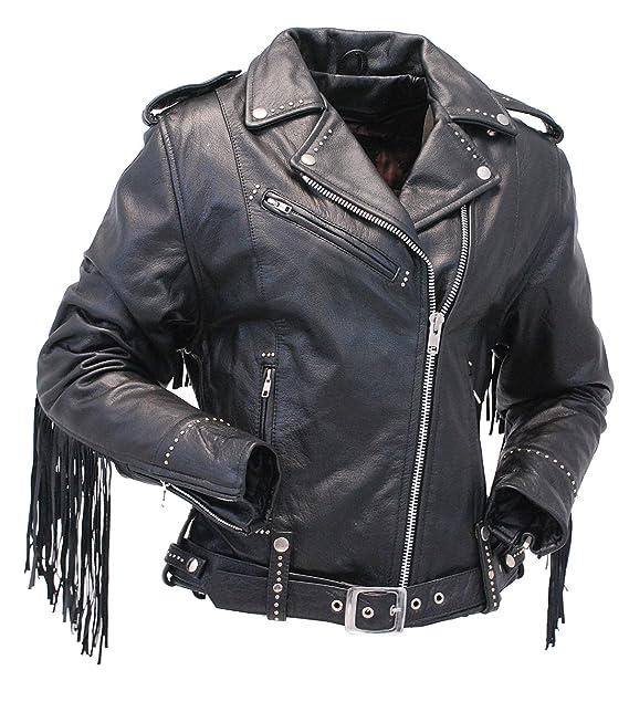 a0f8129ed Jamin' Leather Ladies Stud & Fringe Leather Jacket #L9028ZSFK
