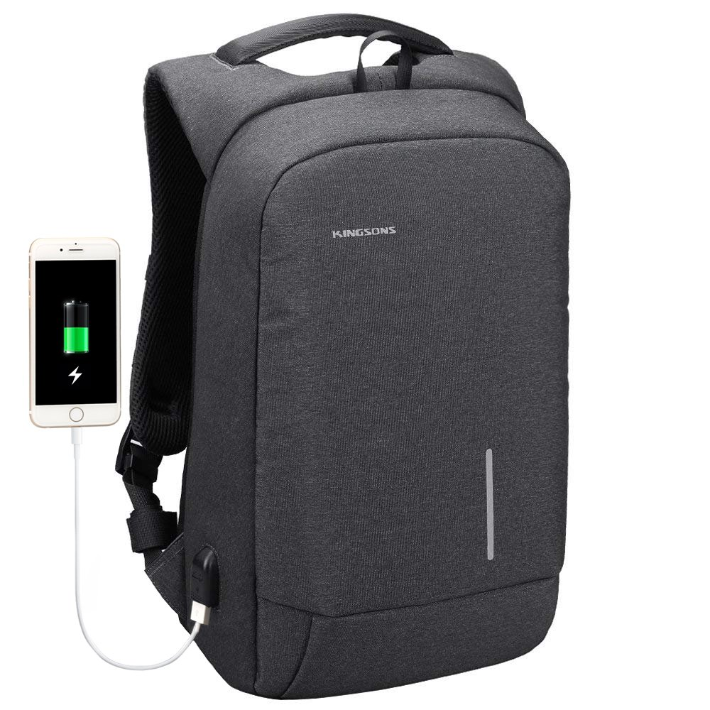 Anti Theft Laptop Backpack, Kingsons Business Travel Computer Bag with USB Charging Port Anti-Theft Water Resistant for 13.3-inch Laptop(Dark Grey)