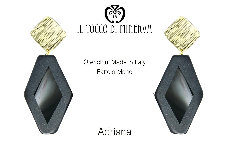 Schwarze Onyx-Ohrringe Adriana Handgefertigt Made in Italy- handgefertigt - handgemacht - Mädchen Geschenk Mädchen - Geschenke für sie - Weihnachten