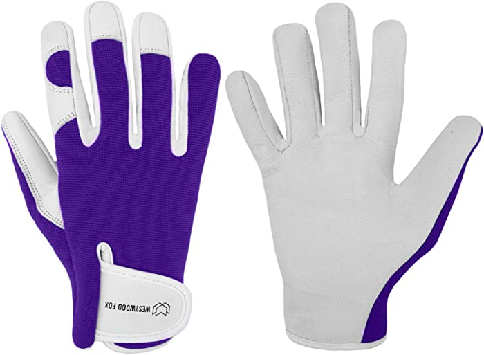 Ladies/Mens Leather Gardening Gloves Thorn Proof Garden work gloves with Goatskin Leather Breathable Spandex Back (Small, Purple)