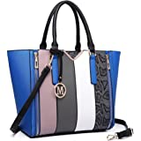 Miss Lulu Women V-Shape Snake Print Handbag Patchwork Stripe Shoulder Bag Tote