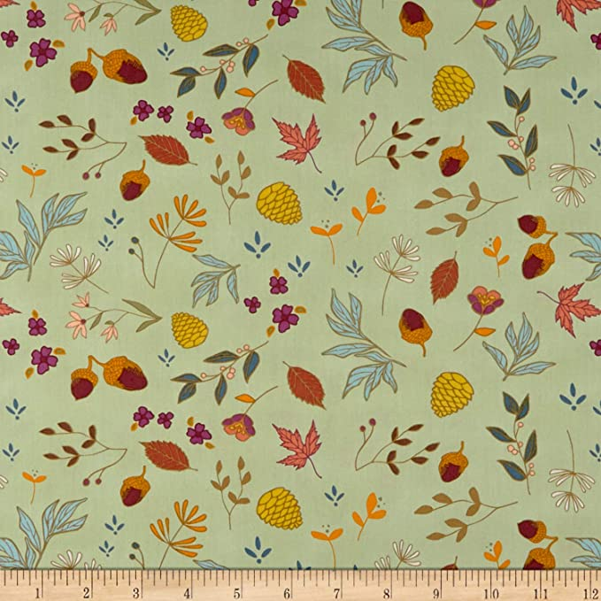 Quilti Fabric Quilting Cushion Curtain Green Cotton Cambric Fabric Floral Print Fabric Printed Fabric SMIN-FL-950A Fabric By The Yard