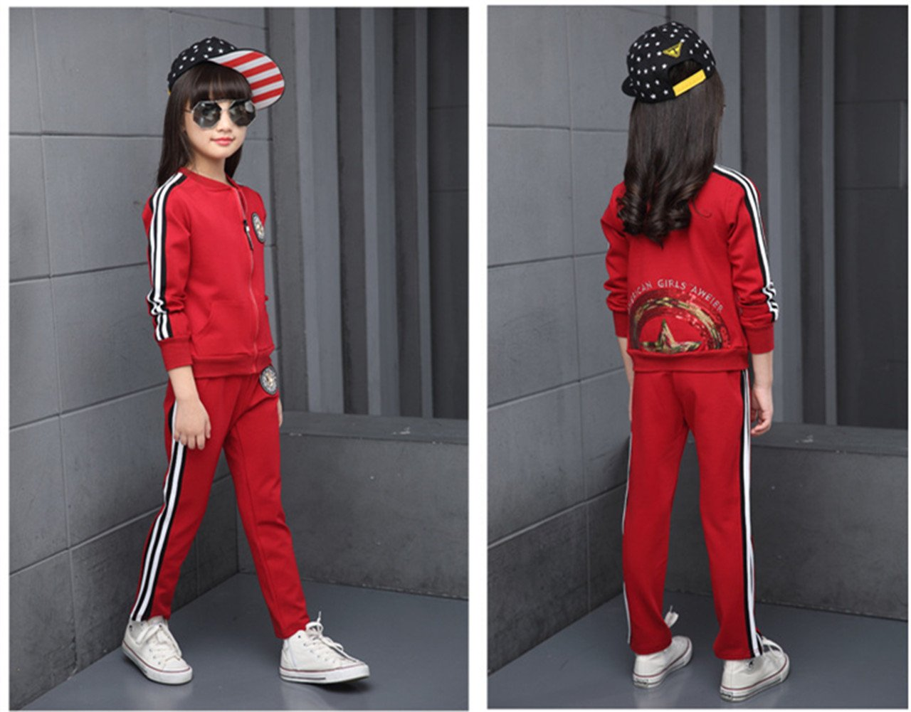 FTSUCQ Girls Zip Front Sports Tracksuits Striped Shirt Jacket Coat + Pants,Red 140 by FTSUCQ (Image #3)