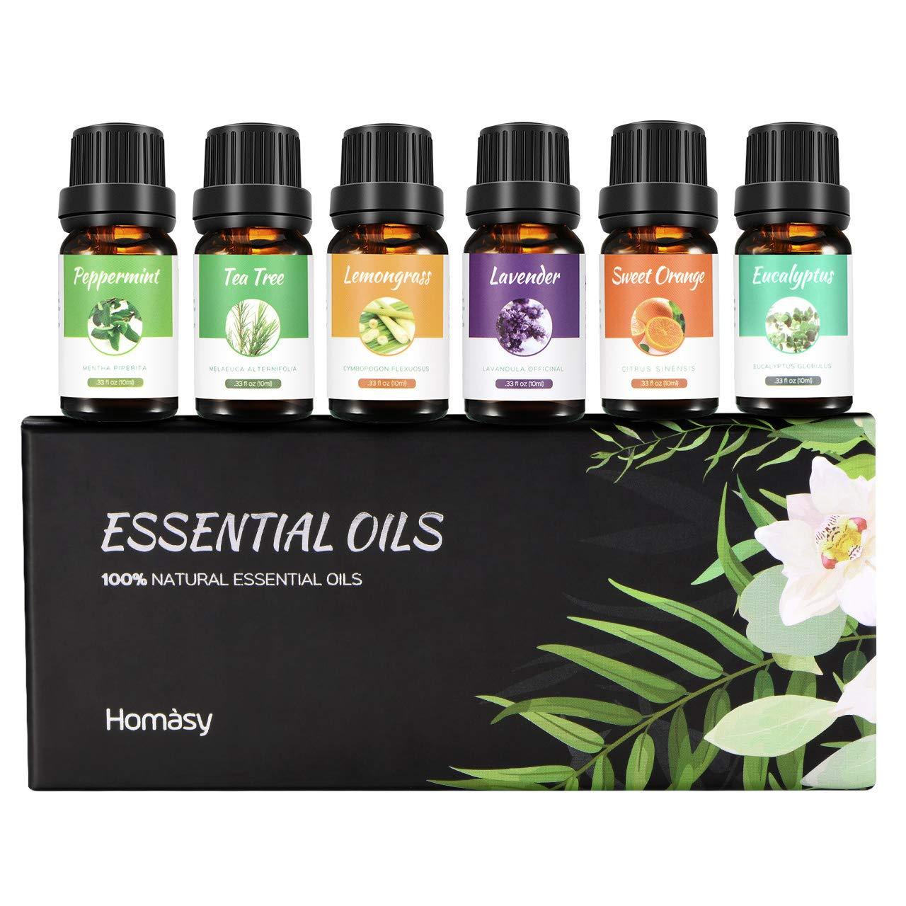 Homasy Aromatherapy Essential Oil Set, 100% Pure Essential Oils Gift Set, Top 6 Natural Essential Fragrance Oil Set for Diffuser, 10ML(Tea Tree, Peppermint, Lavender, Eucalyptus, Lemon Grass, Orange)