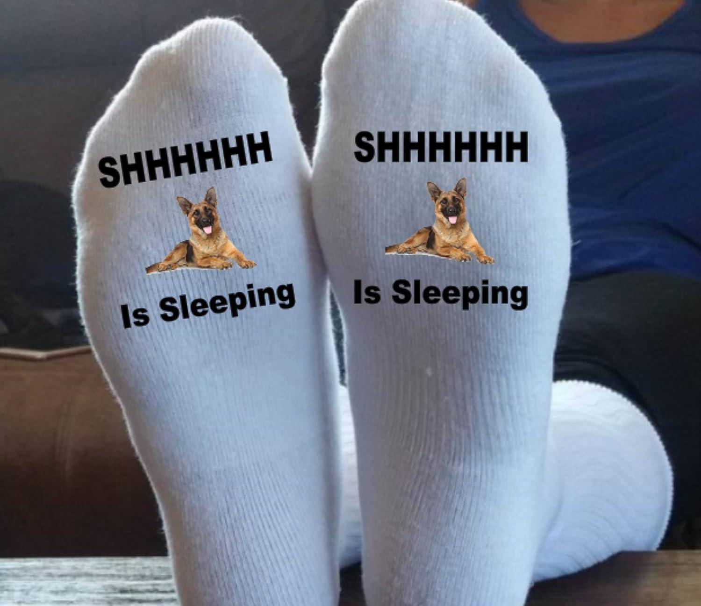 Shhhh, The Dog Is Sleeping, German Shepherd, Fun Socks, Dog Socks, We Can Print Your Dog, Custom Orders, Dad Gift, Papa, Grandpa, Mom,