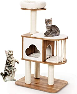 Tangkula Modern Wood Cat Tree, 46 Inches Cat Tower with Platform, Cat Activity Center with Scratching Posts and Washable Cushions, Wooden Cat Condo Furniture for Kittens and Cats