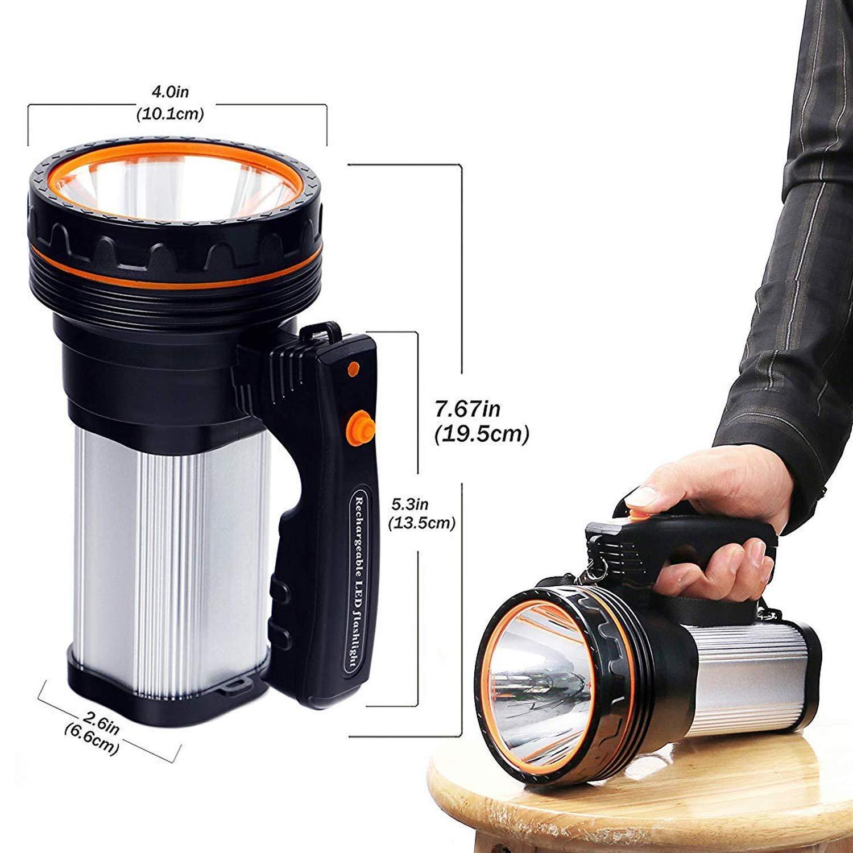 oro ROMER LED Rechargeable Handheld Searchlight High-power Super Bright 9000 MA 6000 LUMENS CREE Tactical Spotlight Torch Lantern Flashlight