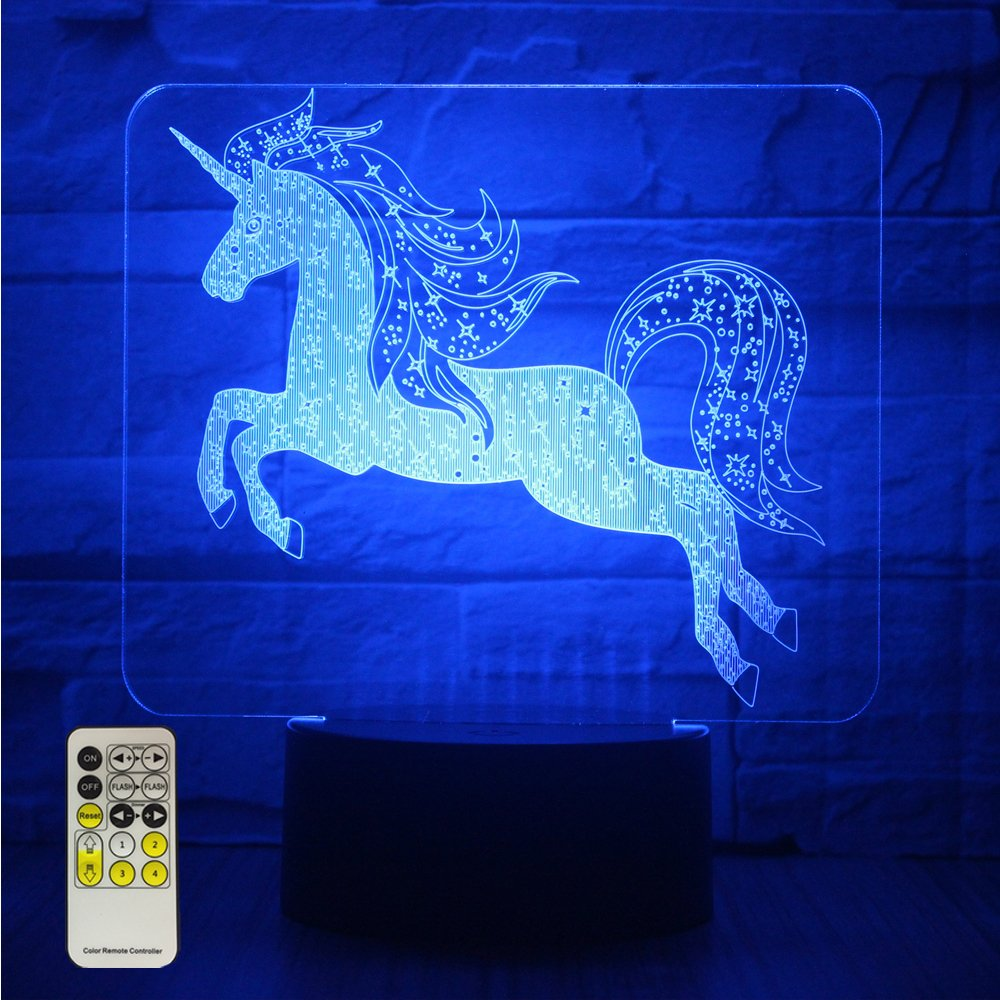 Night Lights for Kids Unicorn 3D Night Lamps Birthday Gifts or Kids Room Décor with Remote 7 Colors Adjustable Ltd