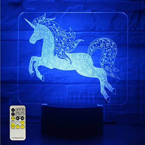 ETongtop Night Lights For Kids Unicorn 3D Night Lamps Birthday Gifts Or Kids  Room Décor With Remote 7 Colors Adjustable     Amazon.com