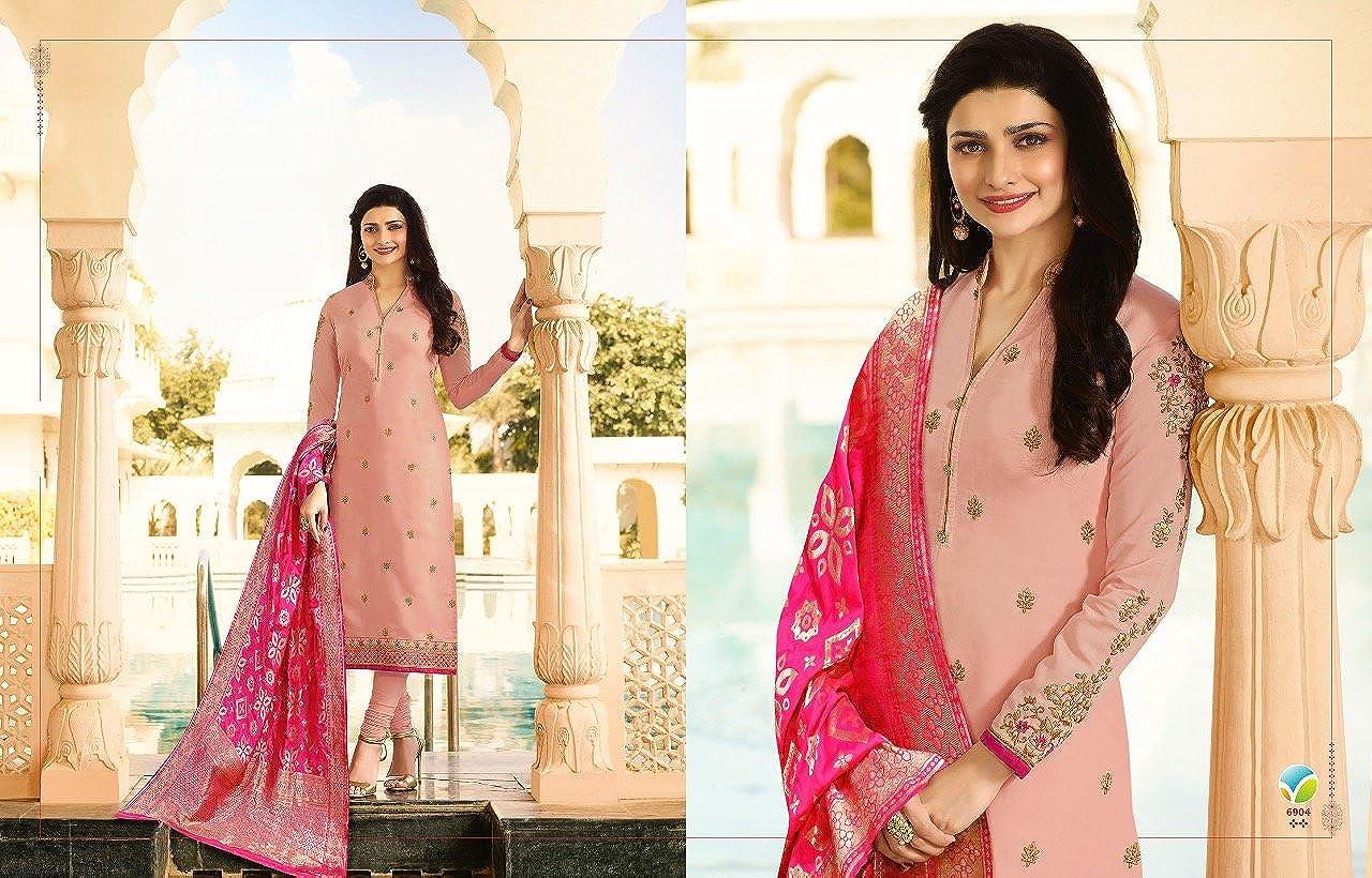 ff3cc309b4 Mahantam Designer Women's Captivating Light Pink Embroidered Worked  Georgette Banarasi Silk Dupatta Straight Salwar Suit: Amazon.in: Clothing &  Accessories