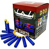 "EKIND 200 Pcs 7.2cm New Design TPR ""Waffles"" Soft Head Darts Refill Foam Bullet for Nerf N-strike Elite AccuStrike Series Blasters Toy Gun (Blue)"