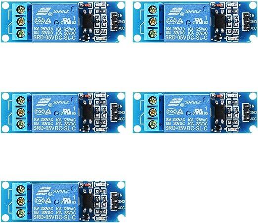 XCSOURCE 5STK 5V 1 Kanal Relais Schildmodul Optocoupler f/ür PIC ACR DSP ARM Arduino TE213