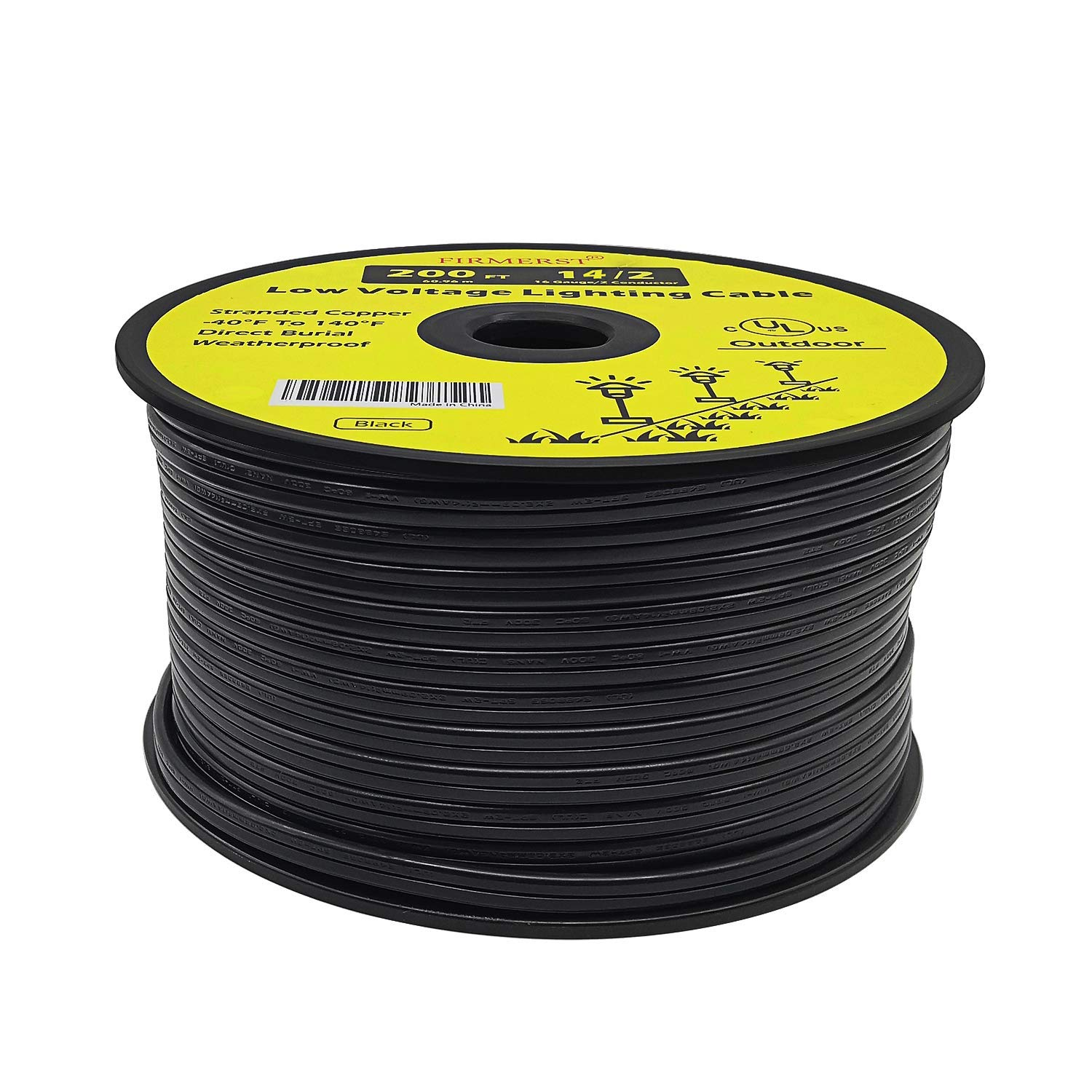 FIRMERST 14/2 Low Voltage Landscape Wire Outdoor Lighting Cable UL Listed 200 Feet