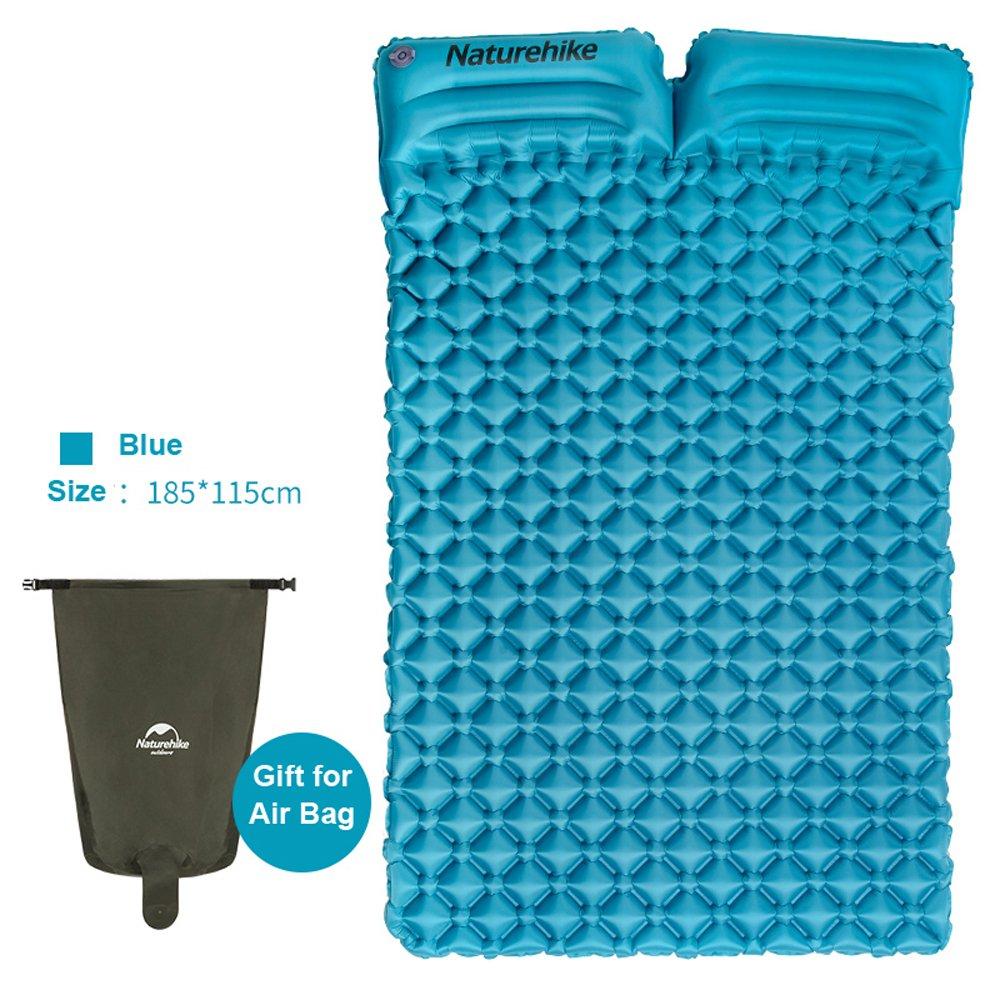 IBasingo Naturehike Ultralight Tragbare 2 Person Schlafmatte mit Kissen Camping Zelt Im Freien Aufblasbare Luftmatratze Feuchtigkeitsdichten Isomatte Schlafen Pad für Picknick Rucksack