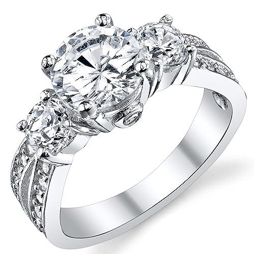 Ultimate Metals® Alianza de Compromiso de Plata Esterlina 925, Anillo de Matrimonio con Circonitas