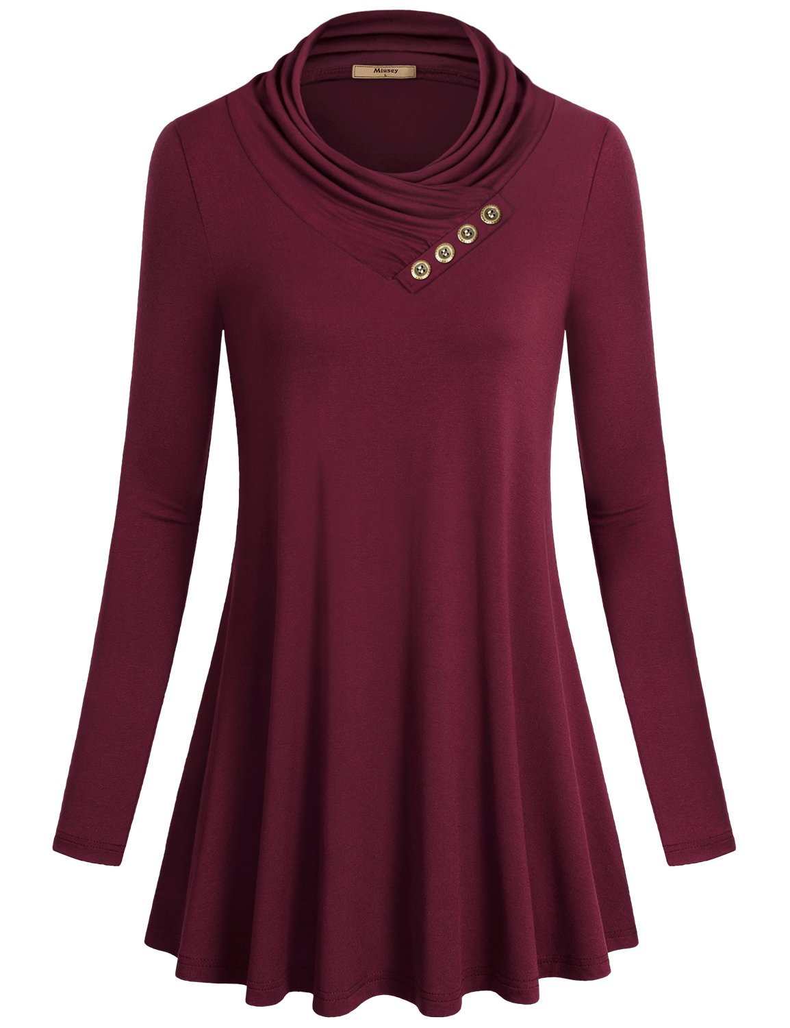 Miusey Womens Tunic Tops Ladies Long Sleeve Easy Fit Outdoor T Shirt Flowing Cowl Neck Button Décor Pullover Knit A Line Elastic Youth Blouses Pregnancy Plus Size Sweaters Wine XXXL