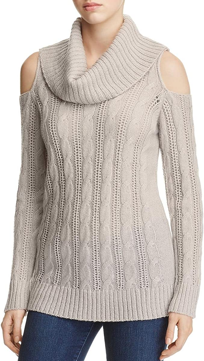 Design History Women's Gray Cable Knit Cowl Neck Pullover
