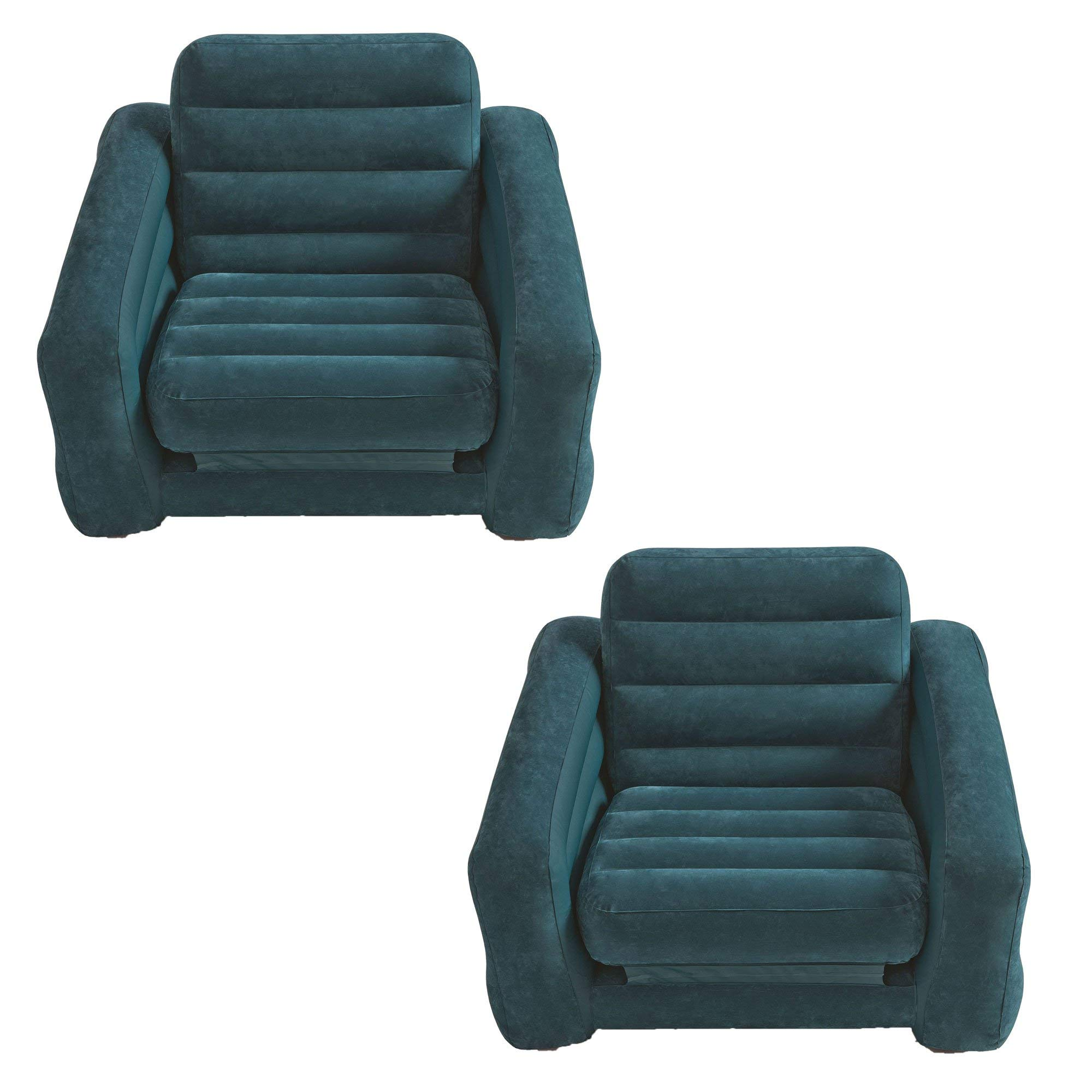 Intex Inflatable Pull Out Chair and Twin Bed Air Bed Mattress Sleeper (2 Pack)