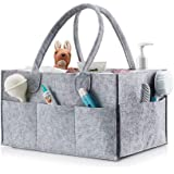 Baby Diaper Caddy Organizer Tote Bag - Baby Shower Gift Basket | Nursery Storage Bin for Changing Table | Portable Car Travel Organizer