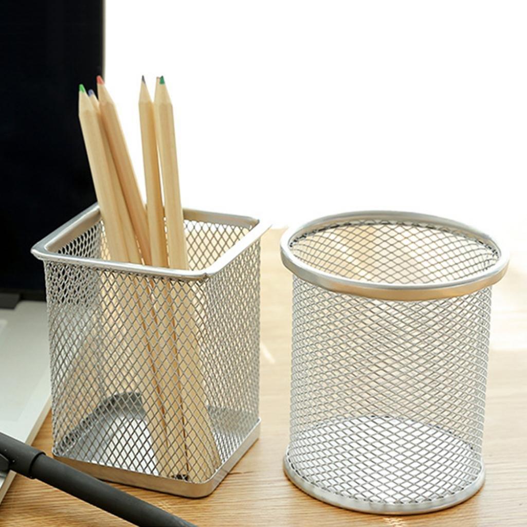 Silver Rectangle per contenere in maniera ordinata i vostri articoli di cancelleria,/contenitore da tavolo a vaso Portapenne//portamatite in metallo di forma cava Geshiglobal