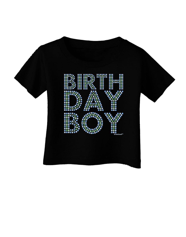TooLoud Birthday Boy Blue and Green Dots Infant T-Shirt Dark