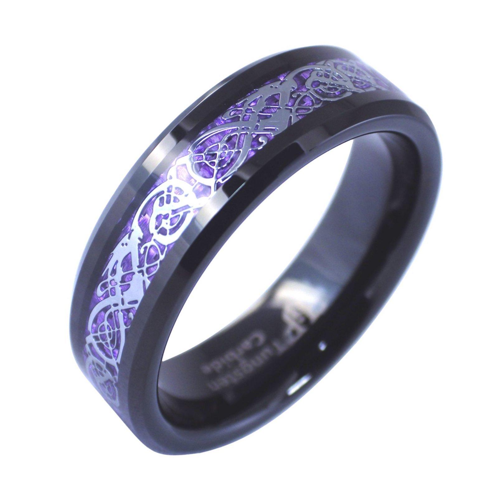 Purple Celtic Dragon Black Tungsten Ring 6mm Viking Jewelry Size 10