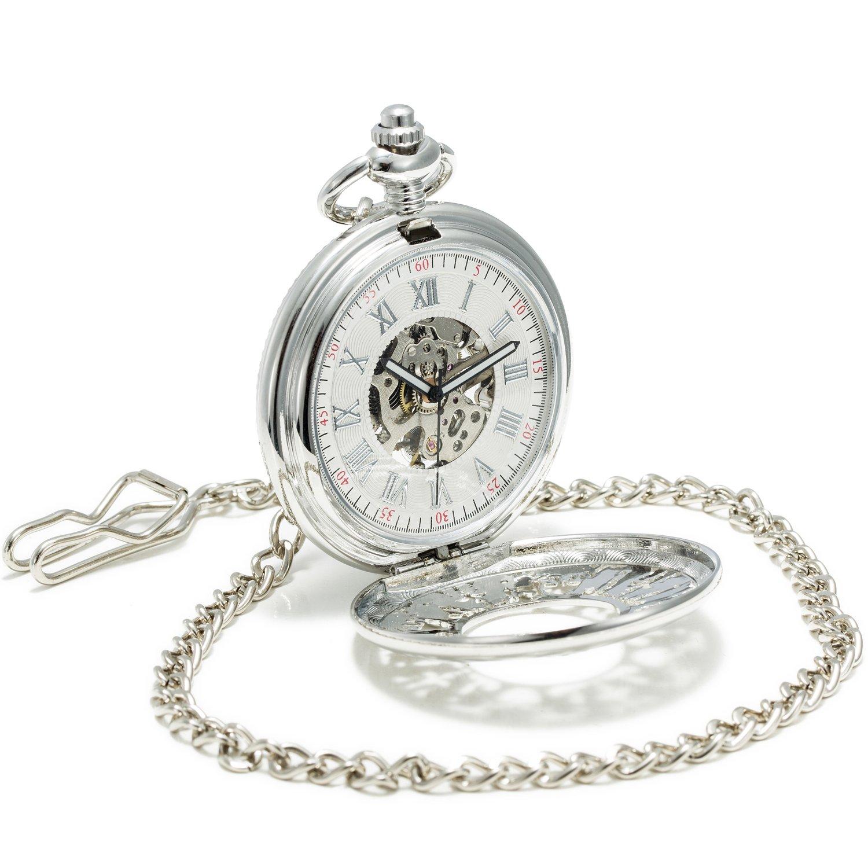 SEWOR Japón Koi ver a través de mecánica mano viento reloj de bolsillo Lucky regalo (Plata)