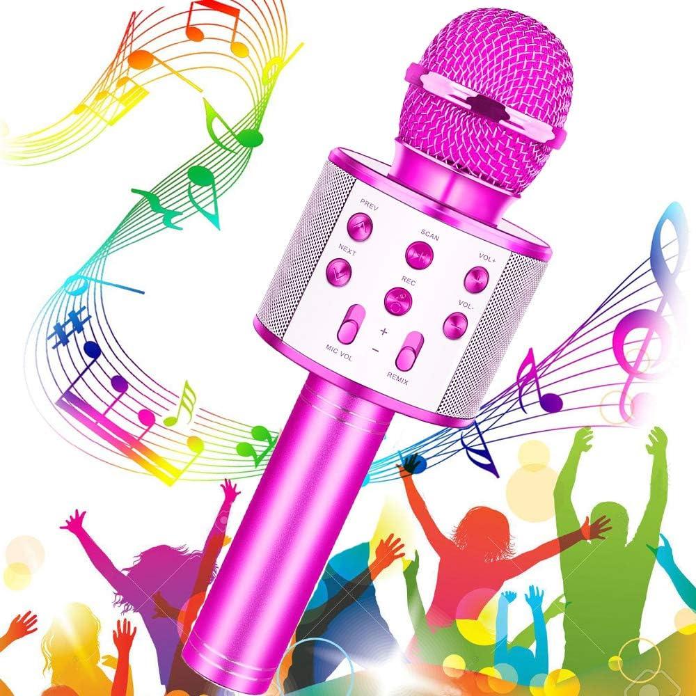 Microfono Inalámbrico Karaoke, Micrófono Karaoke Bluetooth, Buty Micrófono Portátil para Niños Altavoz Cantar Partido Musica Reproductor KTV Doméstico con Función de Grabación (Púrpura)
