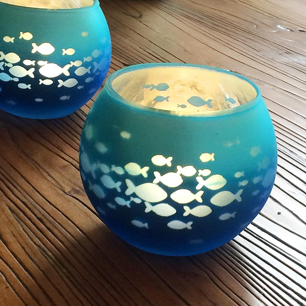 AOLVO Glass Votive Candle Holder, Fish Bowl Candle Holder Mosaic Glass,Handmade Artwork Happy Birthday, Home Decor, Christmas, Wedding Party,, Blue Color