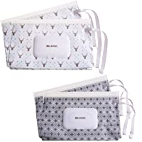 (Gray) - Ava & Kings 4pc Baby Wipes Travel Carrying Case Holder Dispenser Refillable Moist Nappy Wet Wipe Clutch w…
