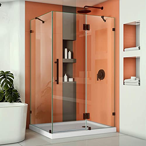 DreamLine Quatra Lux 34 1 4 in. D x 46 3 8 in. W x 72 in. H Frameless Hinged Shower Enclosure in Oil Rubbed Bronze, SHEN-1334460-06