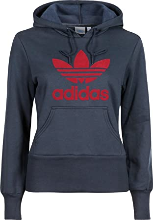 c135efe2f adidas Trefoil Women's Hooded Flock blue dark navy/university red Size:44  (EU
