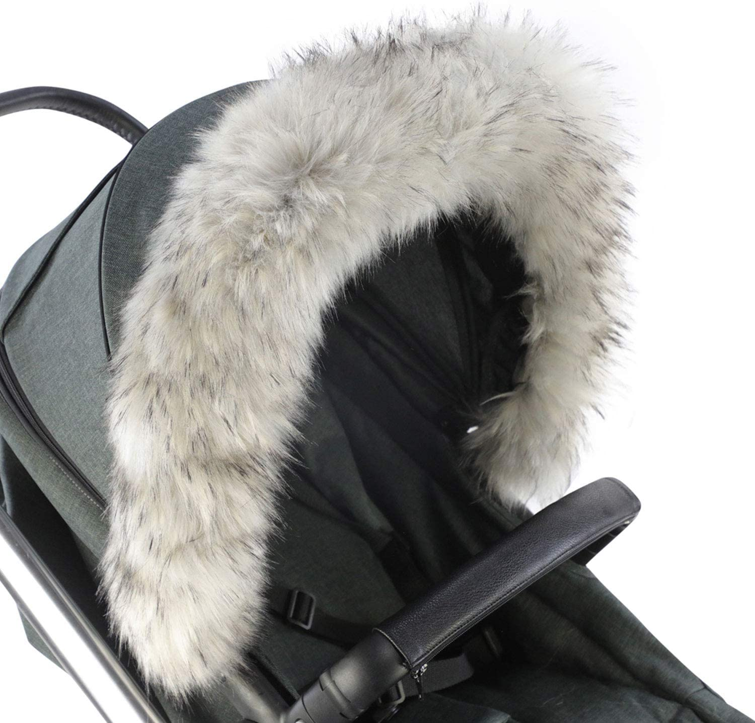 For-Your-Little-One Fur Hood Trim Pram Compatible on Bugaboo Light Grey