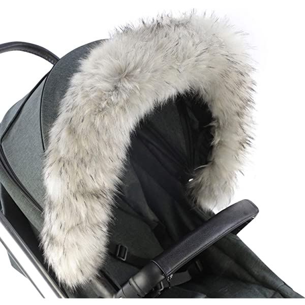 For-Your-Little-One Fur Hood Trim Pram Compatible on Hybird White