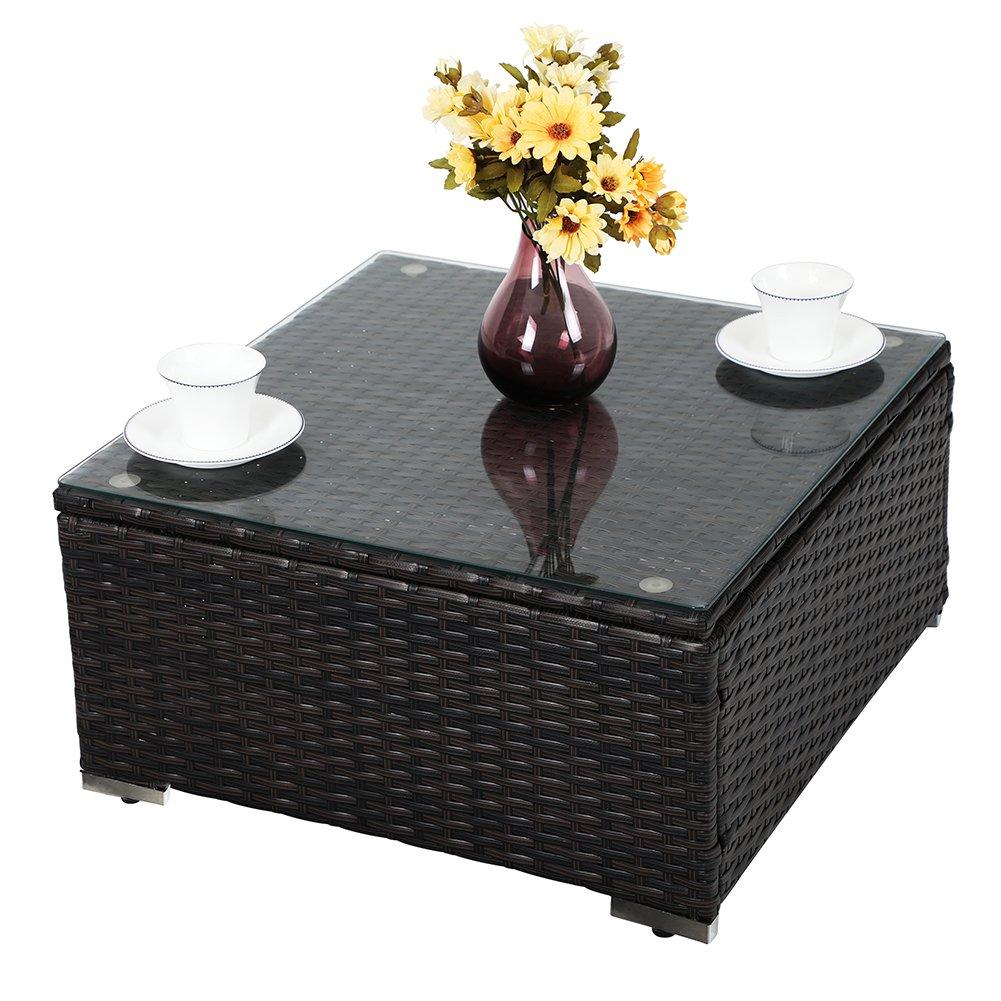 PHI VILLA 3-Piece Outdoor Rattan Sectional Sofa- Patio Wicker Furniture Set, Beige by PHI VILLA (Image #4)