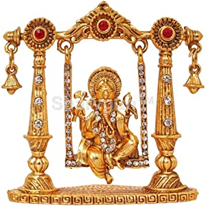 Sharvgun Bhagwan Ganesha Murti Mini Brass Dashboard Statue Figurine in Swing/Divine Elephant God Decorative Showpiece Idol for Success/Hindu Religious Lord Ganpati Vinayaka Resting Pooja Sculpture