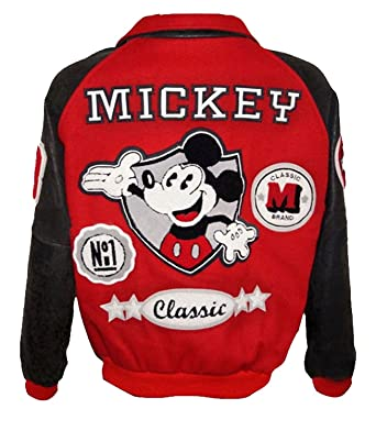 5d8287c1c57 Michael Classic Mickey Varsity Bomber Letterman Mouse Leather Jacket at  Amazon Men's Clothing store: