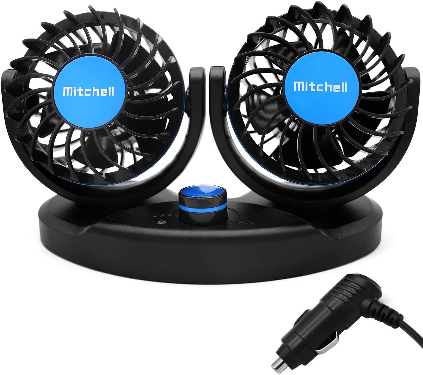 QIFUN 12V Car Fan, Electric Car Cooling Fan with 360° Rotatable Stepless Speed Dual Head Fan with Cigarette Lighter Plug for Vehicles, SUV, RV, Boat