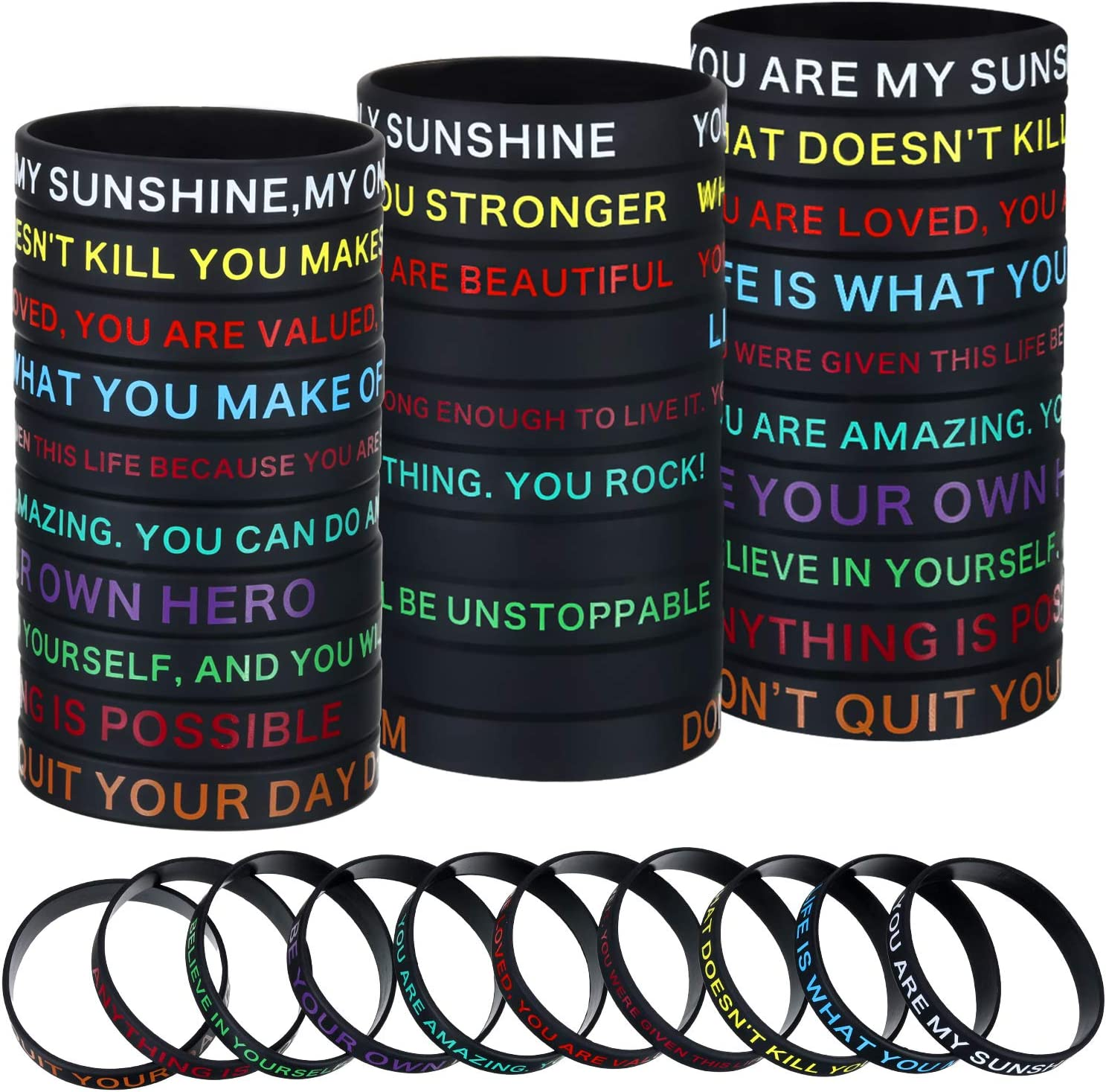 40 Pieces Motivational Silicone Wristbands Inspirational Rubber Bracelets with Positive Messages for Party Favors Chic Style Gifts for Men Women,10 Styles