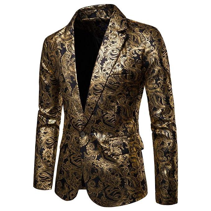 Amazon.com: Chaqueta para hombre, diseño floral Blazer con ...