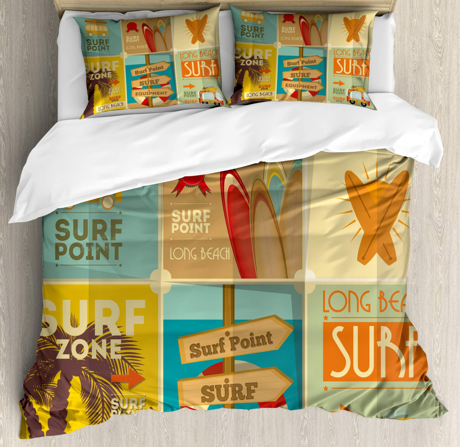 Lunarable Surf Duvet Cover Set, Retro Posters Group Summer Vacation Theme Hobby Water Sports California Beach, Decorative 3 Piece Bedding Set with 2 Pillow Shams, King Size, Pale Brown