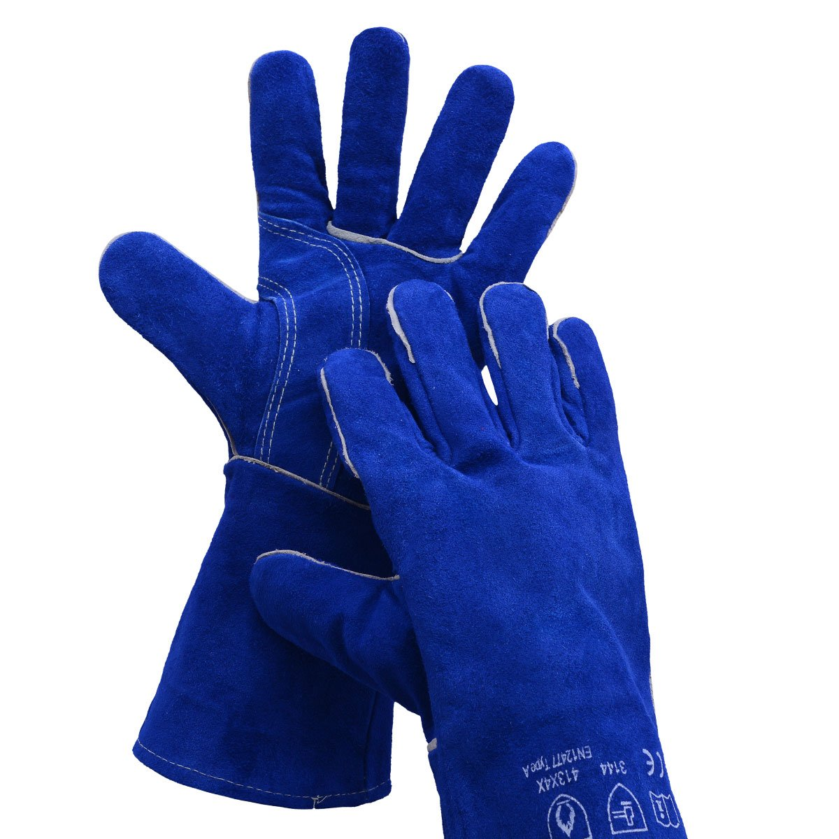 Leather Welding Gloves BOWOO Stitching Heat Resistant Glove for Tig/Mig/Stick/Gardening 14IN,1 pair (Blue)