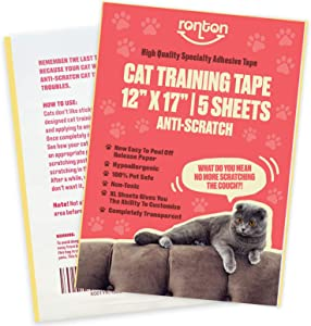 Ronton Cat Scratch Deterrent Tape - 12 in X 17 in X-Large Sheets | Anti Scratch Tape for Cats | 100% Transparent Clear Double Sided Training Tape | Pet & Kid Safe | Furniture, Couch, Door Protector