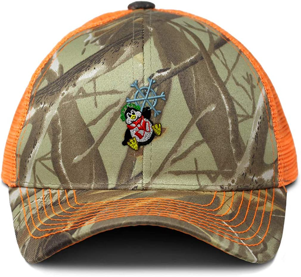 Custom Camo Mesh Trucker Hat Penguin Christmas Embroidery Cotton One Size
