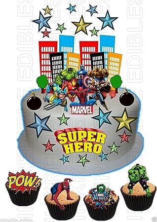 Essbar Superheld Hulk Spiderman Iron Man Wafer Karte Szene Birthday Cake Cupcake Topper