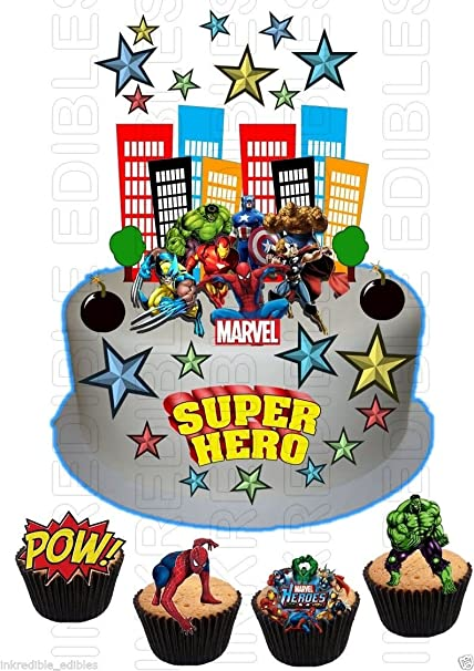 Edible SUPERHERO Hulk Spiderman Iron man WAFER Card SCENE Birthday