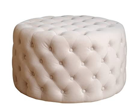 Fine Abbyson Marilyn Tufted Round Velvet Ottoman Ivory Machost Co Dining Chair Design Ideas Machostcouk