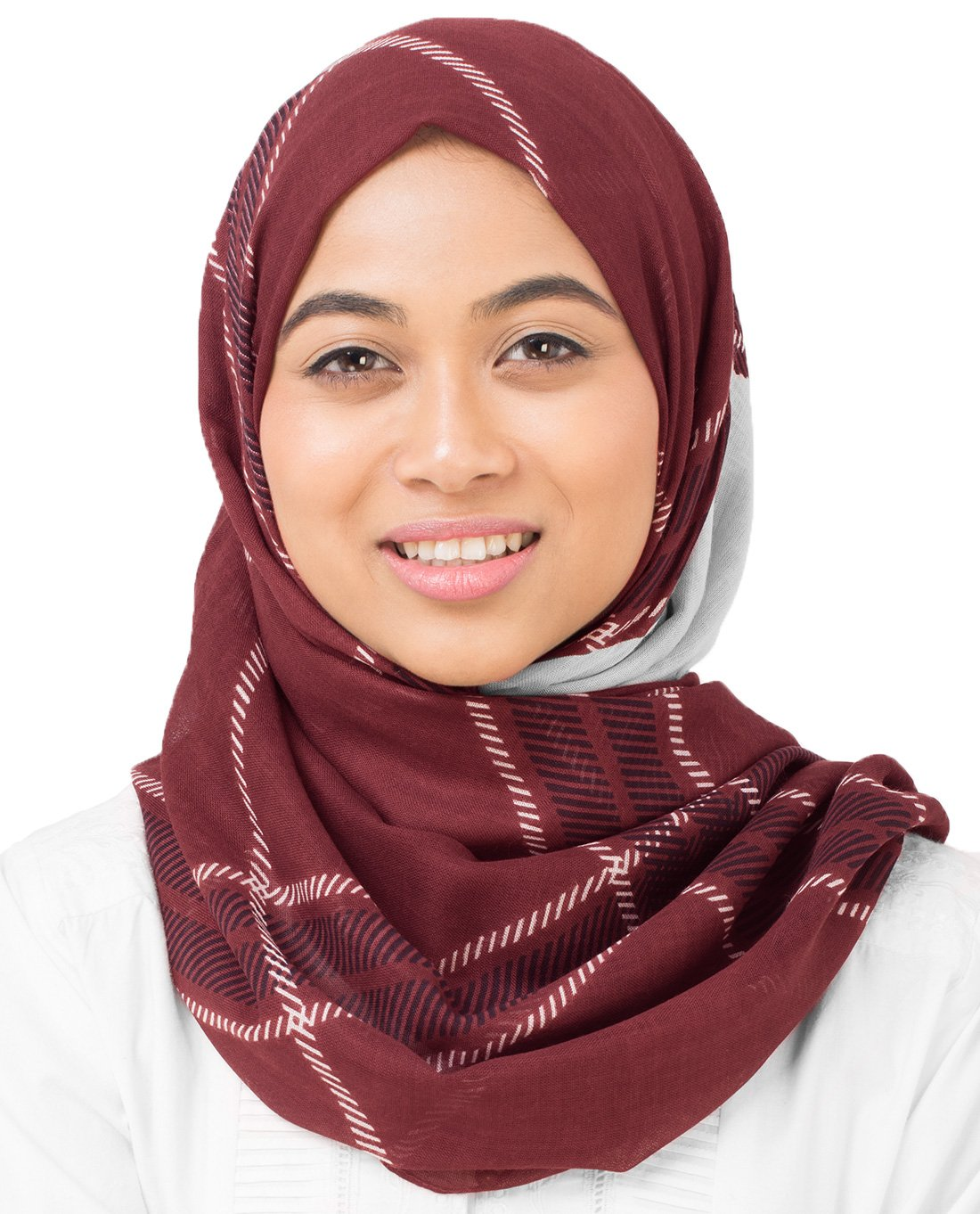 Silk Route New Wind Chime & Red Mahagony Burgundy Check Viscose Stole Scarf Ladies Wrap Hijab Maxi Size